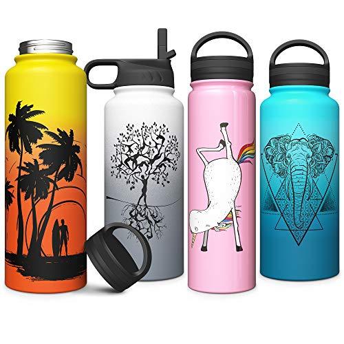 Edelstahl-Vakuum Wide Mouth Wasserflasche mit Stroh & Schraubdeckeln Isolierte | Doppelschalig Kupfer Gefüttert Sweat Proof-Sport-Entwurf 550 ml / 750 ml / 1 Liter Thermos (Rosa, 550 ml)