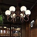 ZSAIMD Lustre pendentif vintage éclairage industriel plafonnier , éclairage de plafond en fer forgé couleur rouillée avec abat-jour en verre boule ronde 6 têtes luminaire suspendu luminaire E27 Edison...