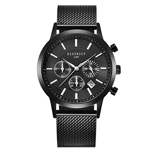 DISTRICT London Executive Black Edition Men?s Watch - Men?s Black Stainless Steel Strap Analogue Sub Dial Quartz Wrist Watch - Classic Design With Black Dial Business Designer Fashion Wristwatch
