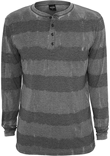 Urban Classics TB533 Fantasy Stripe Burnout L/S Henley Uomo Regular Fit Manica Lunga (Dark Grey, XXL)
