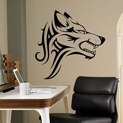 Wiwhy Stammes-Wolf Wandtattoo Beast Wildtier Vinyl Stickehome Ideen Interiowall Art Office Kühlen Wand Ration Diy 57X56Cm