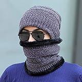REXA Sombrero de Punto Cálido Y Bufanda de Círculo Sombrero de Esquí Conjuntos de Gorro de Deportes Al Aire Libre,Gris,Todo el código