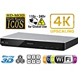 Panasonic 270 Lecteur Multi Zone All Region DVD Blu ray Player. 4K Upscaling - Wi-FI - 2D/3D - Plays BDs, DVDs, Music CDs. 100-240V World-Wide Voltage & 2m HDMI Cable Bundle.
