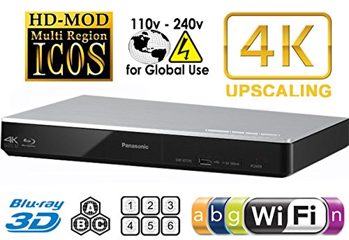 Panasonic 270 Multi Zone-Player, alle Regionen, DVD-/Blu-Ray-Player.4K Upscaling - WLAN - 2D/3D - liest BDs, DVDs, Musik-CDs.100-240 V (weltweit nutzbar) & 2 m HDMI-Kabel. (Panasonic Upscaling Dvd-player)