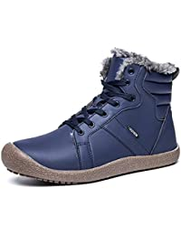 JACKSHIBO Unisex Herren Warm Leder Schneestiefel Wasserdicht Ankle Boots  Non Slip Casual Martin Stiefel Winter Kurzstiefel a23f204eca