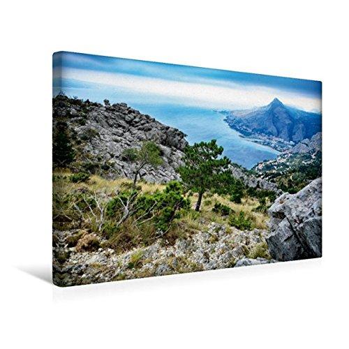 Premium Textil-Leinwand 45 cm x 30 cm quer, Adriatische Küste bei Omis | Wandbild, Bild auf Keilrahmen, Fertigbild auf echter Leinwand, Leinwanddruck (CALVENDO Orte)