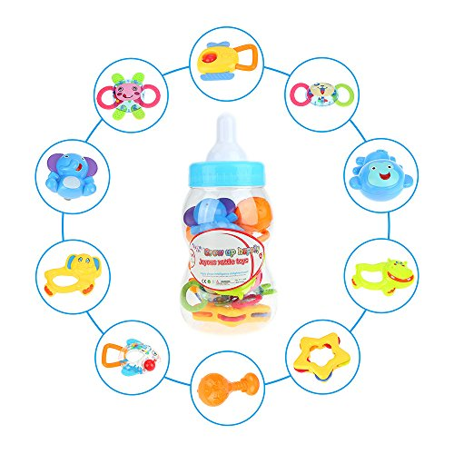 Goolsky 10 Pieces Baby Rattle and Teether Infant Teething Toys Colorful Toy Play Set with Big Baby Bottle