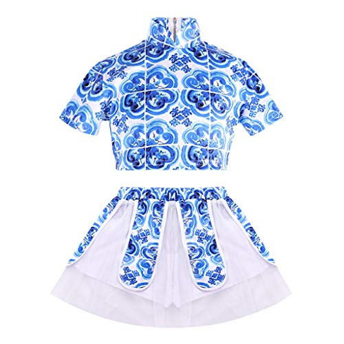 Chinesische Kostüm Ballett - HUO FEI NIAO Tanzkleidung for Kinder Jazz Dance Hip Hop Hip-Hop-Kostüme im chinesischen Stil (Color : Blue, Size : 160)