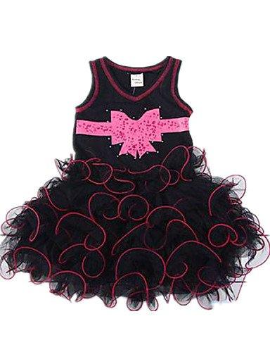 ZY/ Flower Girl Dress - Stile Principessa Lunghezza tšš Senza Maniche Raso/Tulle , red+black , child-6