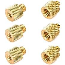 """TARION Set 3 x 3/8 """"a 1/4"""" y 3x 1/4 """"a 3/8"""" adaptador de tornillos de latón cromado para los trípodes de cámara trípodes placas de liberación rápida soportes de altavoz para micrófono"""