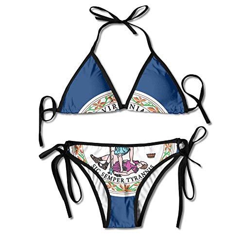 Zcfhike Women's Bikini Set Swimming Costumes for Virginia State Flag.jpg Flower Print -