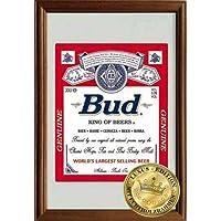 Empire Merchandising 610966Budweiser King of Beers, Specchio con cornice in legno, 22x 32x 1,2cm
