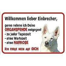Schild Vorsicht WEIßER Schäferhund - Willkommen lieber Einbrecher 15x20cm oder 20x30cm (20x30cm)