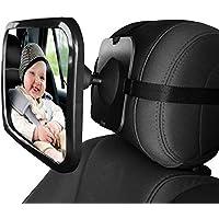 L&HM Espejo Retrovisor Bebé, Espejo de Asiento Trasero 360° Ajustable para Vigilar Bebé en Coche(Seguridad para los asientos traseros)