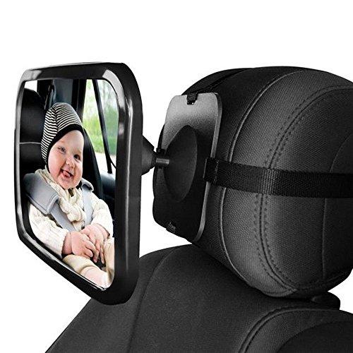 L&HM Rückspiegel/Auto Baby Spiegel drehbar, Kinder Beobachtungsspiegel/Kinderspiegel für Babyschalen, Babyspiegel in universeller Passform, Rücksitzspiegel fürs Baby-360 Grad Winkeleinstellung