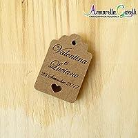 Cartellini carta kraft per bomboniera personalizzati, bomboniere, avana, etichette,matrimonio, battesimo, comunione, cresima, kraft cuore