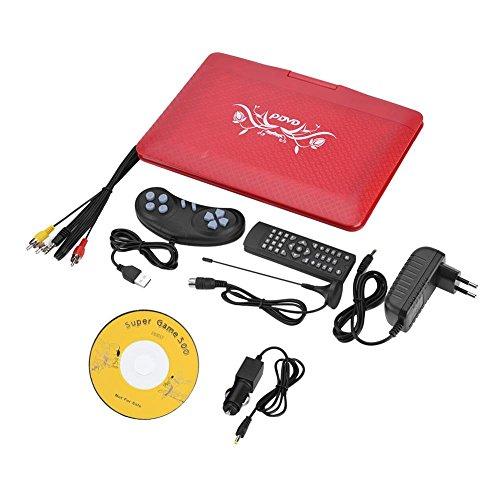 Zerone 9.8 Zoll Tragbarer DVD-Player mit Akku, Schwenker-Schirm, SD-Einbauschlitz und USB-Hafen, Unterstützung AVI-, EVD-, DVD-, SVCD-, VCD-, CD-, CD-R/RW-, MPEG-4 und JPG-Format, Rot(EU-Stecker)