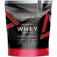 Amazon Brand- Amfit Nutrition - Advanced Whey Protein Powder Strawberry, 64 Servings, 1984 g