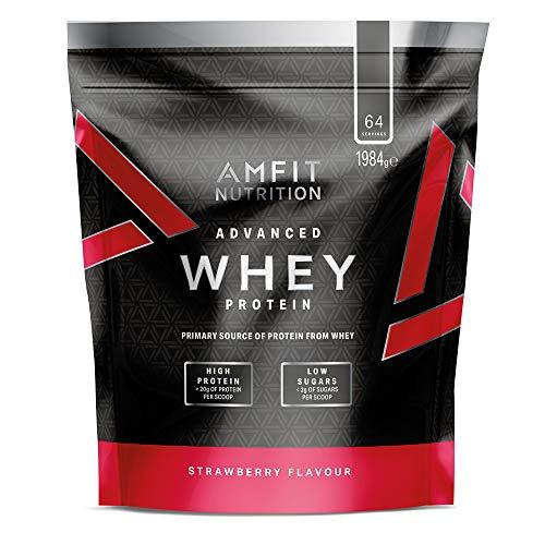 Amazon-Marke: Amfit Nutrition Advanced Whey Protein Eiweißpulver mit Erdbeergeschmack, 64 Portionen,  1984 g