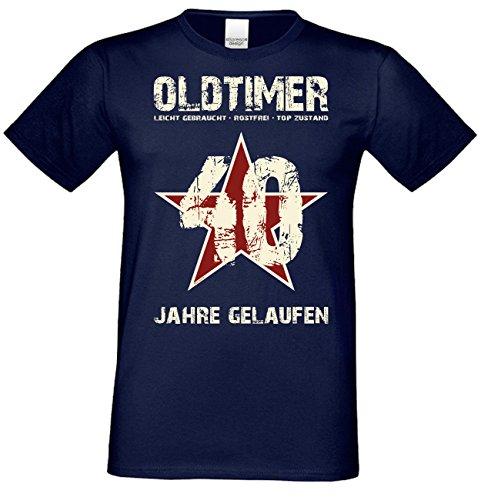 Herren Sprüche T-Shirt Oldtimer 40 Jahre gelaufen : Leicht gebraucht - rostfrei - Top Zustand Geschenk 40. Geburtstag Navy-blau Gr: XL