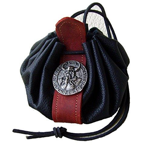 Lederbeutel Dukatenbeutel Geldkatze Farbe schwarz-rot Odin Amulette