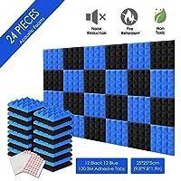 AGPTEK- Schalldämmende dolgu 24 Birimler Dämmplatten köpük 25 x 25 x 5 cm akustik köpük mavi ve stüdyo için siyah ideal, TV odası, çocuk odası, ofis ve podcast kayıtları