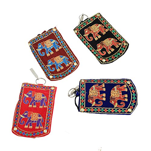 Kuber Industries™ Designer Embroided Mobile-Phone Pouch Cover With Purse Pocket And Sari Hook For Women (Set of 4) - BG61