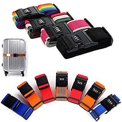 ROHANS 2 Pack Luggage Security Strap Suitcase Packing Belts with Passcode and/or Lock Clip, Various Colours