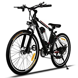 ANCHEER Electric Mountain Bike, E-bike Citybike Commuter Bike with 36V Removable Lithium Battery Charging, Electric Bike Shimano 21 Speed Gear and Two Working Modes Black (26 Inch)