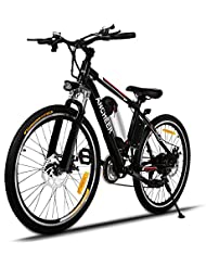 Ancheer Electric Mountain Bike, E-bike with 36V Removable Lithium Battery Charging, Electric bike Shimano 21 Speed Gear and Two Working Modes Black (26 Inch)