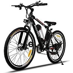 Ancheer Bicicletta Elettrica della Montagna 250W Mountain Bike E-Bike 26 Inch con Batteria 36V 8AH Rimovibile di Litio Velocità MAX 25km/h, Nero