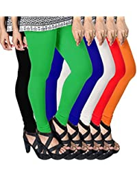 ESSEMM Women's Casual Leggings Combo (Multicolour, Free Size) Pack of 6