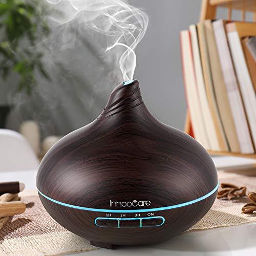 Diffusore di Aromi 300ml InnooCare Umidificatore a Ultrasuoni per Aromaterapia con Venature in Legno con 7 LED Colorati per Casa, Yoga, Ufficio