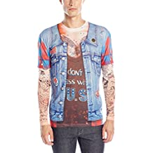 Faux Real Jean Jacket with Tattoo Costume T-shirt