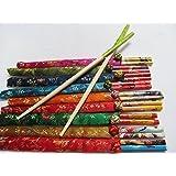 2 pares de palos chinos para el pelo - estilo de bamboo con cobertura de seda
