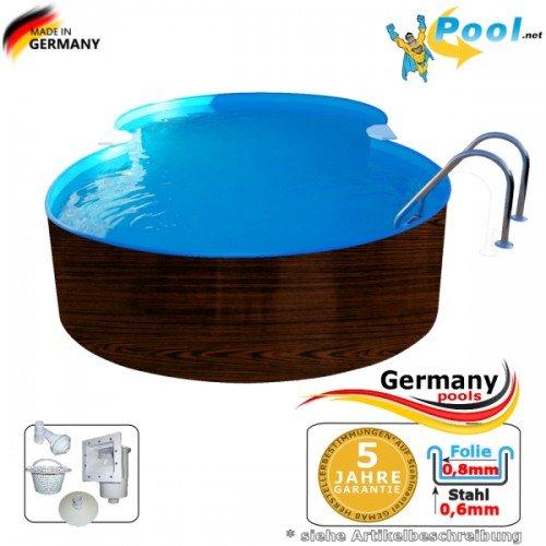 Achtformbecken Holz-Optik 4,7 x 3,0 x 1,2 Dark Wood-Muster achtform Pool Einbau Pools Holz Aufstellpool Swimmingpool Achtformpool Gartenpool Aufstellbecken Holzpool Schwimmbecken Set