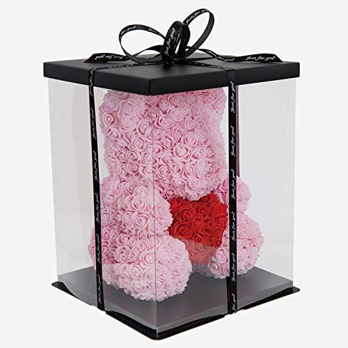 Ours Rose 38cm I Fait main I Idée cadeau I pour la Saint-Valentin, Fiançailles, Anniversaires, Remise des diplômes, Mariage, Baptême, Noël, Journée de la femme, Anniversaire I Qualité Premium