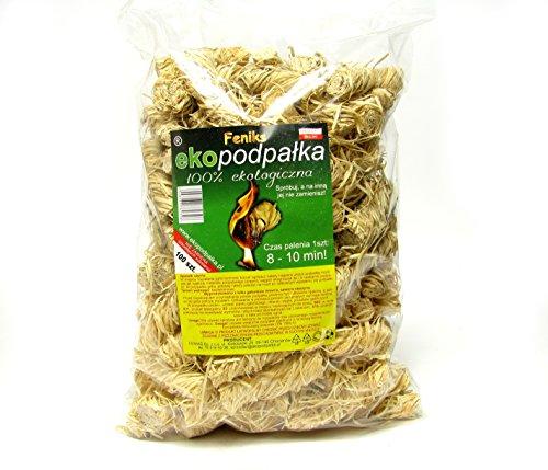 Feniks 1 kg (etwa 100 Stück) Kamin-Anzünder und Grill-Anzünder (Ofen-anzünder, Anzündwolle, Anzündhilfe) aus Bio Holz-Wolle und Wachs - schnell und umweltfreundlich