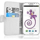 JAMMYLIZARD | Wallet Ledertasche Hülle für Samsung Galaxy S4 mit Ständerfunktion, WEIß