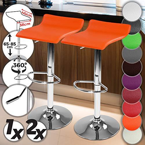 miadomodo sgabelli da bar - con poggiapiedi, regolabile in altezza e il sedile girevole, in similpelle, colore e set a scelta - sedia, mobili da bar, mobili da pranzo (arancione, set da 2)