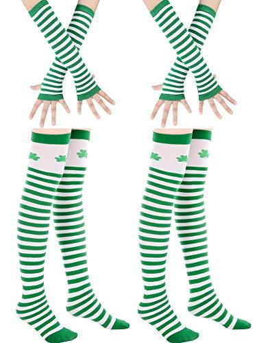 Blulu 2 Sets St. Patrick's Day Gestreiftes Kostüm Zubehör, Einschließlich 2 Paar Shamrock Gestreift Über Knie Socken und 2 Paar Dame Gestreifte Armwärmer (Set - Paar Socken Kostüm