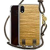 DeinDesign Apple iPhone Xr Carry Case Hülle zum Umhängen Handyhülle mit Kette Holz Look Eichenholz Maserung