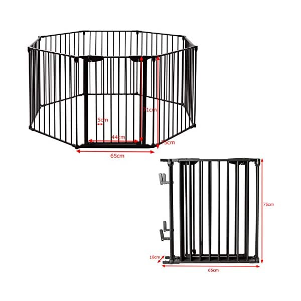 COSTWAY 6&8 Panel Baby Playpen Metal Foldable Design Multiple Use for Pet Fence, Room Divider, Yard Barrie, Fire Guard (8 Panels, Black) Costway 【Two installation modes】Our item have new 2 installation modes that it can be fully spliced as a circle or 2 sides unfurled to mounting on the wall. It can change flexibly according to your needs. It has the advantages of little space occupation, one object with multifunction, simple structure, and light weight. 【Safety door panel design】We have upgraded our door panel entirely to makes it safer. Different from the traditional straight opening door panel, our door panel has a special design that it needs to lift up while holding the switch to open it. 【Nail wall plastic parts set】Coming with a set of nail wall plastic parts, this set can meet your need to fix the item on the wall. When you want to change the installation mode, you can also leave these parts on the wall and only remove the item which will make your next installation more convenient. 3