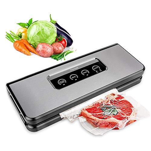 Vakuumiergerät,toyuugo Vakuumierer Folienschweißgerät für Trockene und Feuchte Lebensmittel mit 10 gratis Folienbeutel und Vakuum-Schlauch, silbrig