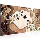 Quadro Arma da poker di whisky Decorazione Murale 100 x 40 cm vello - Decorazione da Parete Misura XXL Salotto Appartamento Decorazione Stampe Artistiche Marrone 1 parti - 100% MADE IN GERMANY - Pronte per l'applicazione 103512a