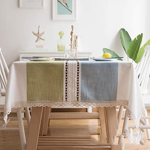 Baumwolle und Leinen Tischdecke aus Spitze Nappaleder blau grün 130 x 180 cm Tischdecken Kunststofftischdecken Salmone Tischdecke Wohnzimmer Tischdecken ()