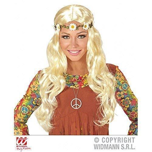 Kostüm Mutter Zubehör Natur - Lively Moments Langhaar Kunsthaar Perücke / Wig in blond mit Blütenband Kostümzubehör 70er Jahre Hippieperücke Hippiekostüm Zubehör