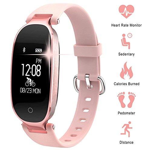 Fitness Tracker für Frauen Herzfrequenz Monitore Schritt Zähler Activity Tracker Smart Armband SmartWatches Wasserdicht IP67Bluetooth Schrittzähler Armband mit Sleep Monitor für Android & iOS Smartphone, iPhone, Samsung