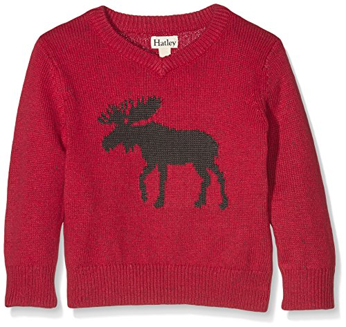 Hatley Moose V-Neck Sweater with Elbow Patches, Felpa Bambino, Rosso,