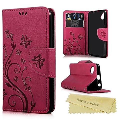 Coque Wiko Sunset 2 Mavis's Diary Housse de Protection Étui à Rabat Portefeuille en Cuir + TPU Silicone Phone Case Cover Rose Rouge Fleur Papillon Imprimé Fente de Carte Magnétique+Chiffon